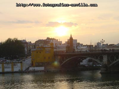 Seville, sunset over the Triana's Bridge (Puente de Triana)